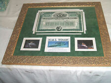 "Stock Titanic Common Capital 100 Shares # 5847 Framed Matted  20.5"" L  23.5 "" W"