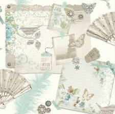 Arthouse VIP Ava Teal Wallpaper 693001 Shabby Chic Scrapbook Butterfly Birds Fan
