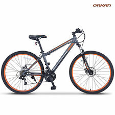 "27.5"" Men's Mountain Bike Shimano Hybrid 21 Speed Bicycle Sports Grey & Orange"