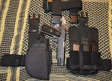 NCSTAR CV2908 TACTICAL 3PC DROP LEG GUN HOLSTER, MAG POUCH & BELT SWAT BLACK