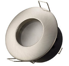 Round Frosted Bathroom Downlight Water Rated Spotlight GU10 IP44 Satin Nickel