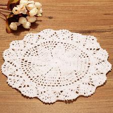 Mano a mano de algodón beige flores crochet Doily Table Mat