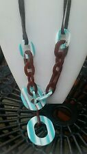 Beautiful resin brown, blue, white fun chunky link necklace