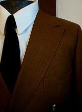 40 R Mens Vintage 1960s Mustard Brown Blue Stripe Double Breasted 2pc SUIT 60s !