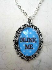 Handmade Vintage Silver Alice in Wonderland Blue Drink Me Cameo Necklace New