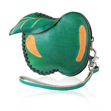 Fashion Green Apple Coin Leather Purse Wallet Handbag Charm Keychains LW1