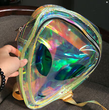 New Alien Face Hologram Holographic Women Girls Backpack Bookbag PVC Bag Purse
