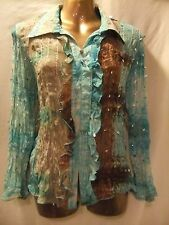 LADIES Prima 12 TURQUOISE+TAUPE CRINKLE TIE DYE/SPARKLES/FRILLS/SLEEVED BLOUSE