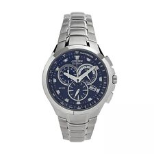 Citizen ECO-DRIVE Silver Tone  Blue Dial Chronograph Watch AT0900-54L NWT $370