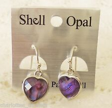 Purple Heart Paua Shell Earrings - 12mm heart