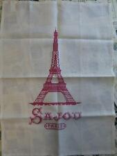 Sajou Vintage Style Ecru French Linen Tea Towel- Cross Stitch Eiffel Tower