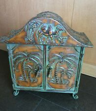 North African Style Metal Cabinet 2 Doors Palm Trees Camel Design Decorative Sun