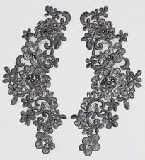 2 Embroidered Venise Lace Sequins & beaded Applique Trim Motif  in Grey #2