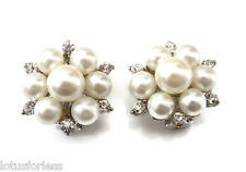 Beautiful Diamante Faux Pearl Cluster CLIP ON Earrings Gold Tone Bridal Prom