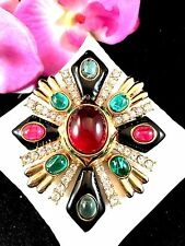 RARE CINER JEWELS OF INDIA RUBY EMERALD GRIPOIX CABOCHON MALTESE CROSS BROOCH