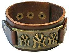 MENS LEATHER WITH BRONZE DESIGN CUFF