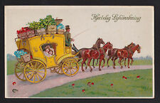 c1928 gold trimmed Horse drawn Coach Hearty Congratulations Denmark postcard