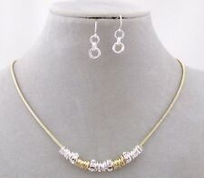 Gold Silver Ring Rhinestone Necklace Earring Set Fashion Jewelry NEW