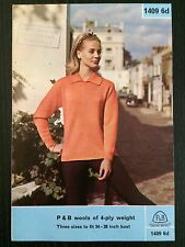 Vintage Patons Knitting Pattern 1409 Lady's Patterned Sweater Latin Style
