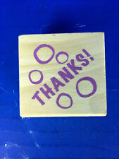 "New! Miniature Wooden Rubber Stamp (849609) ""Thanks!"" 1.5"" x 1.5"""