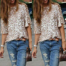 Sexy Women Off-shoulder Glistening Sequin Slim Fit Shirt Tops Blouses Casual Tee