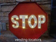 """STOP Netal Lighted Street Traffic Light Parking 20"""" x 20"""" Man Cave Route 66 LED"""