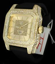 47mm Gold Finish Simulated Diamond Techno Pave Hip Hop Mens Bling Wrist Watch