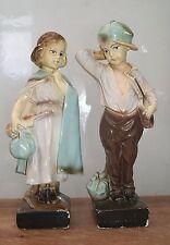 Vintage art deco 1930s boy & girl musiciens peint plâtre figurines statuettes