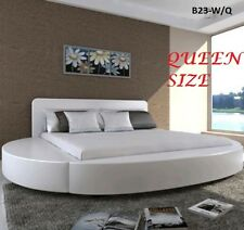 ITALIAN DESIGN QUEEN SIZE ROUND WHITE PU LEATHER BED FRAME
