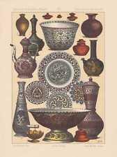 Indien Hausgeräte Gefäße Wasserpfeife LITHOGRAPHIE von 1883 Buddhismus Inder