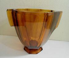 Ancien grand vase ou seau à champagne 1940 en verre fumé Czechoslovakia