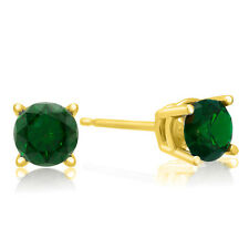 0.61 Carat TCW Green Diamond 14K Yellow Gold Solitaire Mens Single Stud Earring