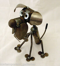 New Recycled Scrap Metal Unpainted Itty Bitty Dog Sitting Sculpture Made in USA