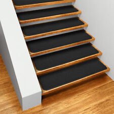"Set of 12 SKID-RESISTANT Carpet Stair Treads 8""x30"" BLACK runner rugs"