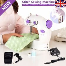 LED Electric/Mains Battery Powered Portable Handheld Mini Stitch Sewing Machine