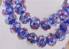 5 Perles Bleues Rondes Rondelles à facettes Fleuries Bleue Sable d'Or 10mm x 7mm