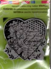 New Stampendous RUBBER STAMP cling Cherish heart collage valenting love floral