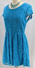 Coincidence & Chance for Anthropologie Peacock Blue Lace Midi Dress SZ MED M NEW
