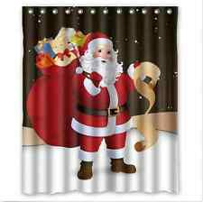 Santa Claus Christmas Red Holiday Art Fabric Shower Curtain Digital Bathroom