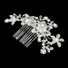 Bridal Wedding Flower Rhinestone Pearls Party Hair Diamonte Clip Comb Silver