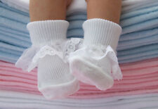 6 Pairs Baby Girls White Cotton rich lace top Socks 3-5.5 UK, 12-24 Months