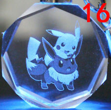 pokemon pikachu pet eevee LOGO Crystal Key Chain LED light Pendant NO.16 W753 CU