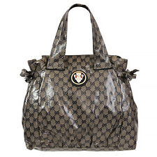 37038 auth GUCCI blue & grey CRYSTAL GG Monogram HYSTERIA Tote Handbag Bag