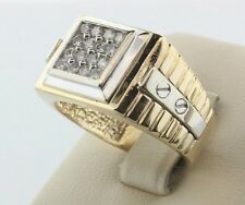 14K White & Yellow Gold Screw Watch Design 0.50ct Diamond Men's Ring - Size 11.5