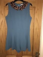 Blue Jumpsuit With Leopard Print Collar