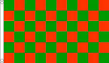 RED and GREEN CHECK FLAG 5' x 3' Checkered Checked Sports Club Team