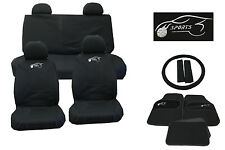 ALL BLACK CLOTH CAR SEAT COVERS SET STEERING WHEEL GLOVE COVER MATS & PAD ka8105