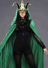 Adult Masked Ball Long Green Velvet Hooded Cape