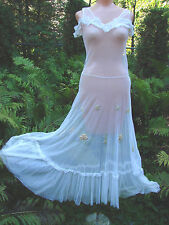 Vintage 20s 30s Sheer Lace dress Embroidered Tulle Netting White XS VGC Bridal