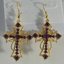 """2"""" Crystal Cross Gold Plated Pierced Earrings Comes in 9 Colors"""